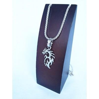 トライバル ネイティブ ドラゴン 龍 竜 部族 紋章 ネックレス シルバー 銀 SILVER 1489