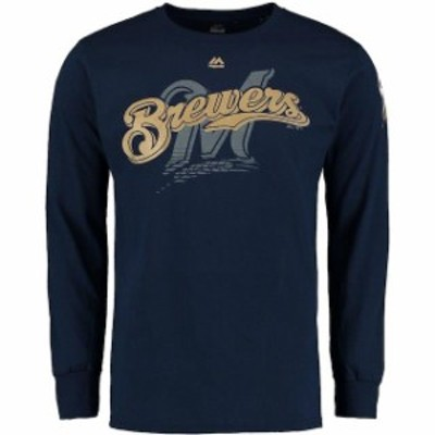 Majestic マジェスティック スポーツ用品  Majestic Milwaukee Brewers Navy Pressing Issues Long Sleeve T-Shirt