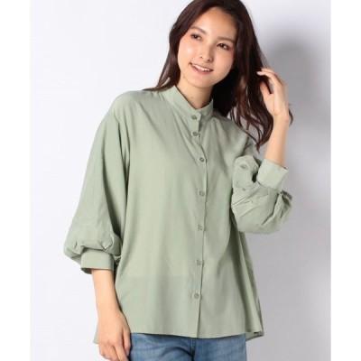 【メラン クルージュ】【Melan Cleuge women】ボリュームスリーブバンドカラーシャツ