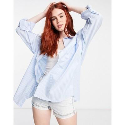 コットン オン レディース シャツ トップス Cotton:On dad shirt in blue stripe Authentic blue