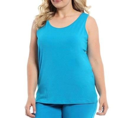 マルチプルズ レディース Tシャツ トップス Plus Size Double Scoop Neck Solid Knit Tank