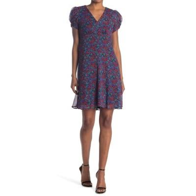 カルバンクライン レディース ワンピース トップス Floral Pull Sleeve Empire Waist Dress RED MULTI