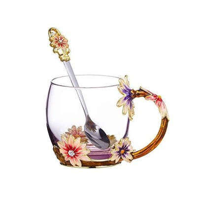 Glass Tea Cup, Mother's Day Gift Handmade Enamel Daisy Flower Coffee Cup Se