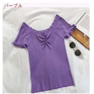 【送料無料】着やせ シンプル ニット 女 夏 韓国風 何でも似合う 個性 フリル 襟 | 346770_A62699-1907478
