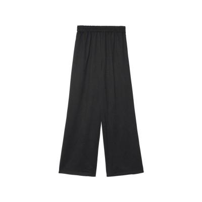 リエディ Re:EDIT [低身長向けサイズ/高身長向けサイズ有]ピーチスキンルーズストレートパンツ (ブラック)
