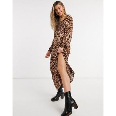 ストラディバリウス レディース ワンピース トップス Stradivarius shirred top midi dress with split detail in leopard print Brown