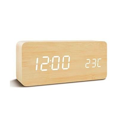 Qansi 目覚まし時計 大音量 LEDデジタル時計 木目調 おしゃれ 置き時計 カレンダー付き 卓上 アラーム 温度表示 明るさ調節 音声感知 US
