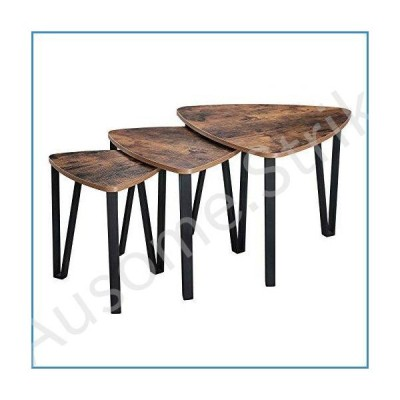 VASAGLE Industrial Nesting Coffee Table, Set of 3 End Tables for Living Room, Stacking Side Tables, Sturdy and Easy Assembly, Wood Look Acce