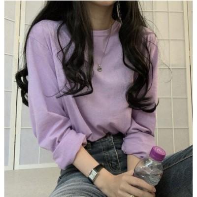 ティシャツ レディース 夏 韓国ファッション レディースファッション ロンt ロンティー 韓国 長袖 tシャツ カットソー 10代 40代 1143