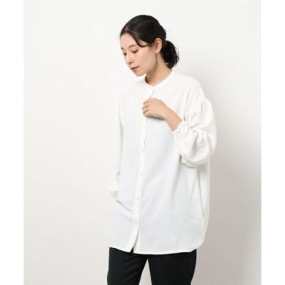 シャツ ブラウス 【WEB限定】pura ボリュームスリーブノーカラーロングシャツ