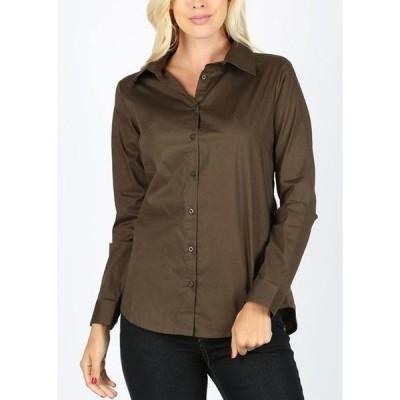 レディース 衣類 トップス Womens Button Up Shirt Long Sleeve Office Business Career Wear Olive 10312D ブラウス&シャツ