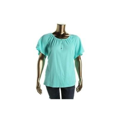 トップス ブラウス カレン?スコット Karen Scott 8099 レディース Solid Flutter スリーブs Caual プルオーバーTop Shirt Plus