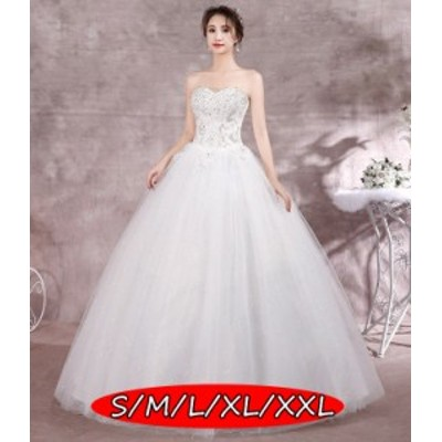 ウェディングドレス 結婚式ワンピース ミドリフトップ 体型カバー ハイウエスト Aラインワンピース 白ドレス 姫系ドレス