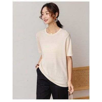 ニットTシャツ新作Tシャツレディース可愛いニットTシャツ無地カジュアル体型カバー韓国ファッション夏