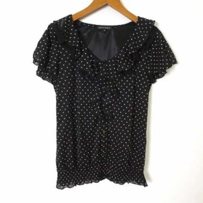 【中古】ミッシュマッシュ MISCH MASCH カットソー シャツ 半袖 水玉ドット シフォン M 黒 ブラック ベージュ 美品