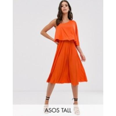 エイソス レディース ワンピース トップス ASOS DESIGN Tall one shoulder pleated crop top midi dress Orange