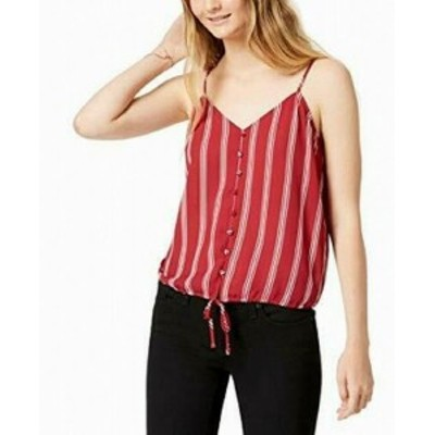 Red  ファッション トップス Hippie Rose Red Size Large L Junior Striped Button Down Tank Cami Top