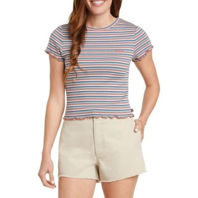 ディッキーズ DICKIES レディース Tシャツ トップス Lettuce Edge Stripe Ribbed T-Shirt Multi Stripe