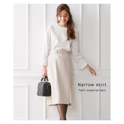 スカート ひざ丈 レディース やわらか ツイル素材 ベルト付 ナロー  M/L ニッセン