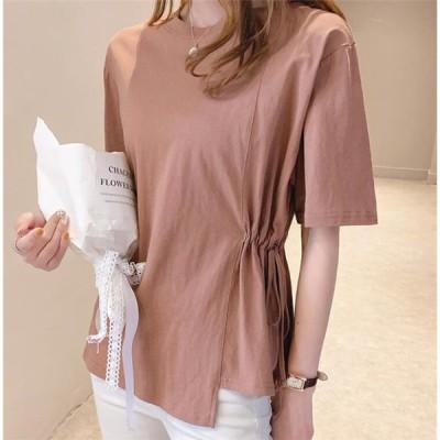 Tシャツ レディース シンプル 半袖 女子力UP カットソー ブラウス ゆる 着痩せ トップス 春服