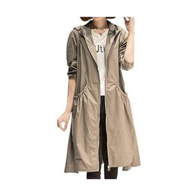 [ネコート] ロングコート ジャケット アウター 無地 ロング 長袖 光沢 きれいめ カジュアル フード付き レディース (ベージュ XL)