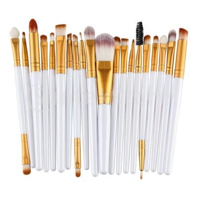 20個/セットプロフェッショナルメイクアップブラシセット美容化粧品ツールホワイトゴールド
