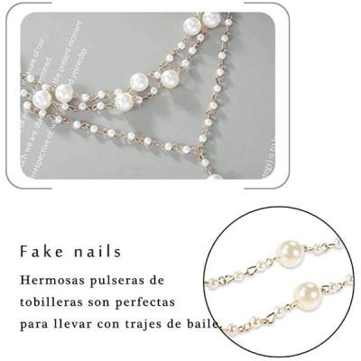 Abien Boho Pearl Anklet Gold Layered Ankle Bracelets Toe Ring Barefoot