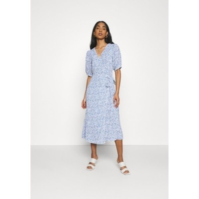 グラマラス ワンピース レディース トップス WRAP AROUND MIDI DRESS WITH TIE DETAIL AND SLEEVES - Day dress - blue