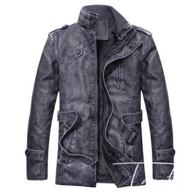 【セール】ボア ブルゾン ジャケット SI メンズ 裏起毛 裏ボア シングル 革ジャン PU フェイク ショート丈 カジュアル 大き