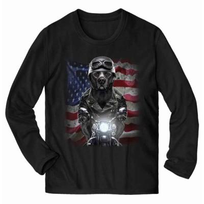 【黒毛のアメリカンピットブル ドッグ 犬 いぬ バイク 星条旗 アメリカ】メンズ 長袖Tシャツ by Fox Republic