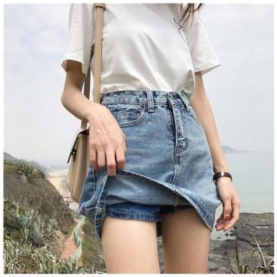 インナーパンツ付きだから見えても安心 デニムミニスカート デニムショートパンツ付き ボトムス パンツ デニム スカート レディース 大きいサイズ