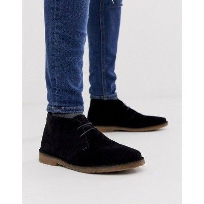 リバーアイランド メンズ ブーツ&レインブーツ シューズ River Island suede desert boot in black Black