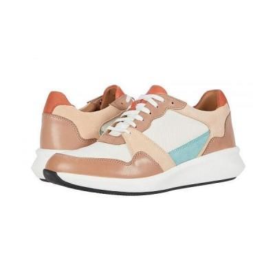 Clarks クラークス レディース 女性用 シューズ 靴 スニーカー 運動靴 Un Rio Run - Blush/White Textile/Suede Combi