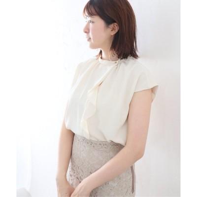 シャツ ブラウス フロント フリルフレンチスリーブシャツ【手洗い可能】◆