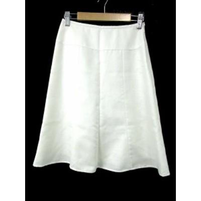 【中古】ノーリーズ Nolley's スカート 台形 ロング ミモレ ジップフライ 34 白 ホワイト /NN41 レディース