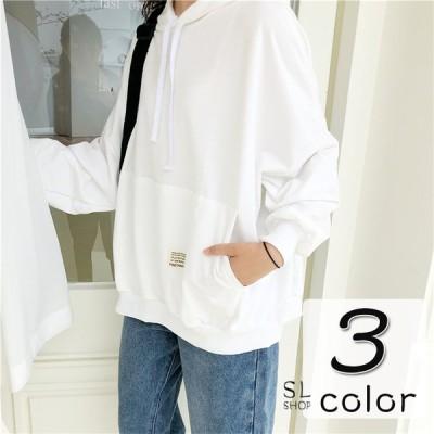 パーカー レディース 大きいサイズ カットソー フード付き Tシャツ 長袖 ドロップスリーブトップス