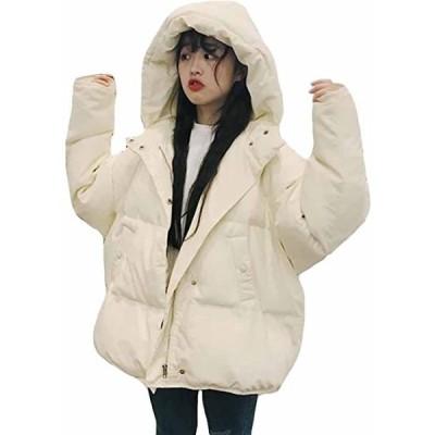 レディース ダウンジャケット 秋 冬 中綿 フードコート 無地 ショート丈 ダウンコート 防寒着 中綿コート ゆったり 体型(s2012250239)