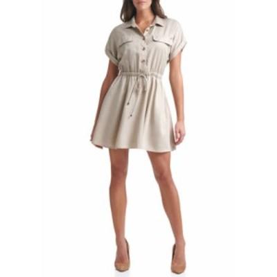 トミー ヒルフィガー レディース ワンピース トップス Women's Short Sleeve Elastic Waist Dress Latte