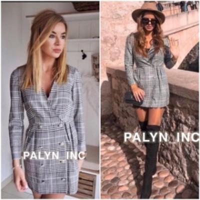 Plaid  ファッション ドレス NWT ZARA AW18 GRAY DOUBLE BREASTED PLAID WRAP DRESS_XS S M L