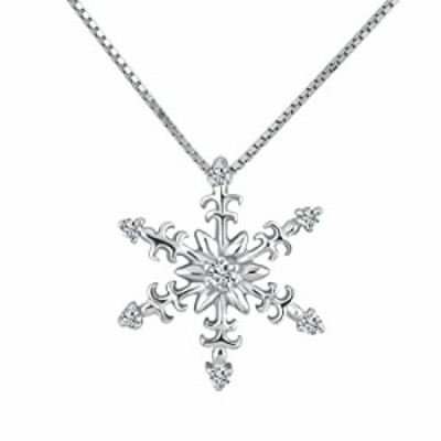 LovelyJewelry Sterling Silver CZ Snowflake Winter Necklace Pendant 18""