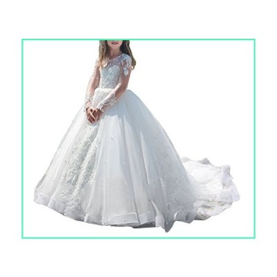 Girls Lace Long Train Flower Girl Bridesmaid Dress Party Pageant Dresses White並行輸入品