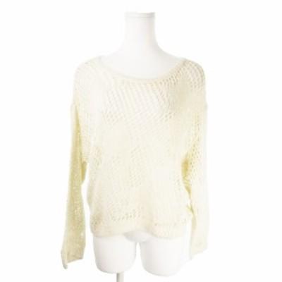 【中古】ローズバッド ROSE BUD ニット セーター ラウンドネック 長袖 ざっくり 透け感 麻 リネン F 白 ホワイト