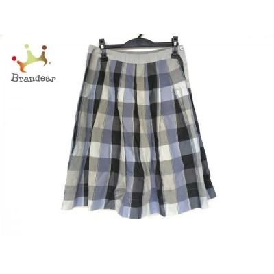 マーガレットハウエル スカート サイズ3 L レディース 美品 グレー×黒×ライトブルー 新着 20200903