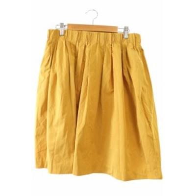 【中古】ドレステリア DRESSTERIOR スカート ひざ丈 ギャザー ナイロン混 黄色 イエロー /M2N3 レディース