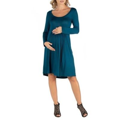 24セブンコンフォート ワンピース トップス レディース Knee Length Pleated Long Sleeve Maternity Dress Turquoise