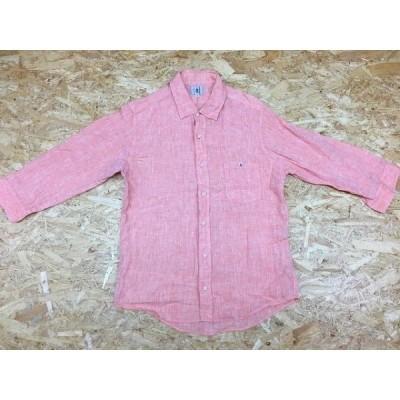 TK TAKEO KIKUCHI ティーケー タケオキクチ サイズ2 メンズ シャツ 半端袖 無地 胸ポケット付き レギュラーカラー 麻100% ライトオレンジ