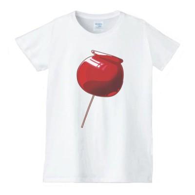 りんご飴 食べ物 野菜 スイーツ Tシャツ 白 レディース 女性用 jts92