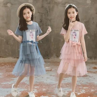 子供服 ワンピース 半袖 春夏 女の子  ワンピース レース柄 ワンピース フォーマルドレス  子供ドレス ジュニア ベビー服 おしゃれ 可愛い おしゃれ