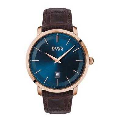 ボス メンズ 腕時計 アクセサリー Men's Premium Classic Leather Strap Watch, 42mm BLUE