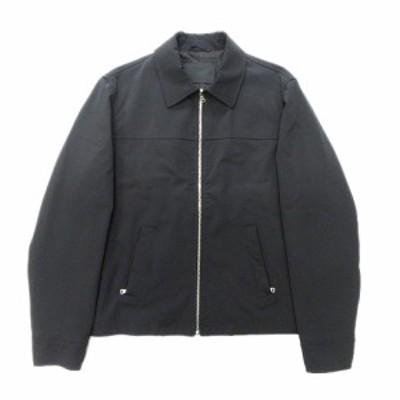 【中古】90's プラダ PRADA ナイロン ステンカラー ジャケット ブルゾン ストレッチ ロゴ ボタン 裏キルティング